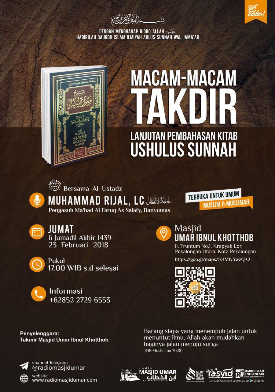 Kajian Ustadz Muhammad Rijal Lc -hafidzahullah- 23 Februari 2018