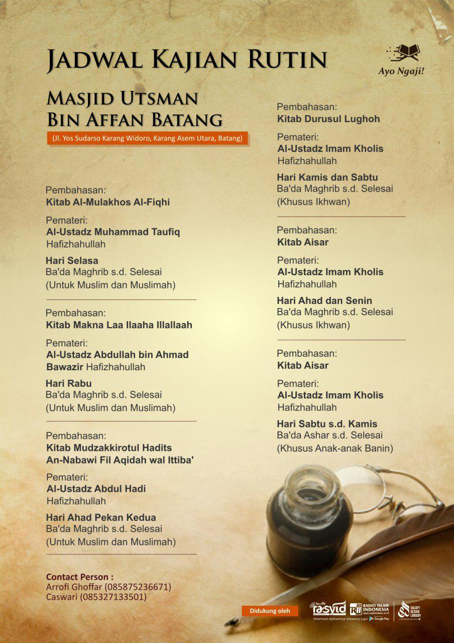 Jadwal Kajian Rutin Masjid Utsman Bin Affan – Batang