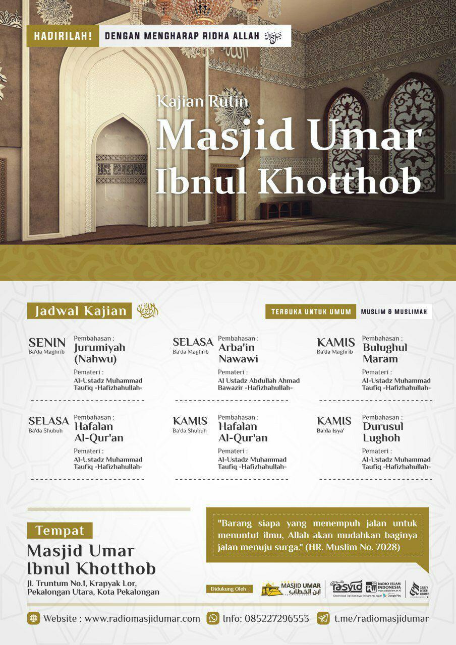 Jadwal Kajian Harian Masjid Umar Ibnul Khotthob Pekalongan