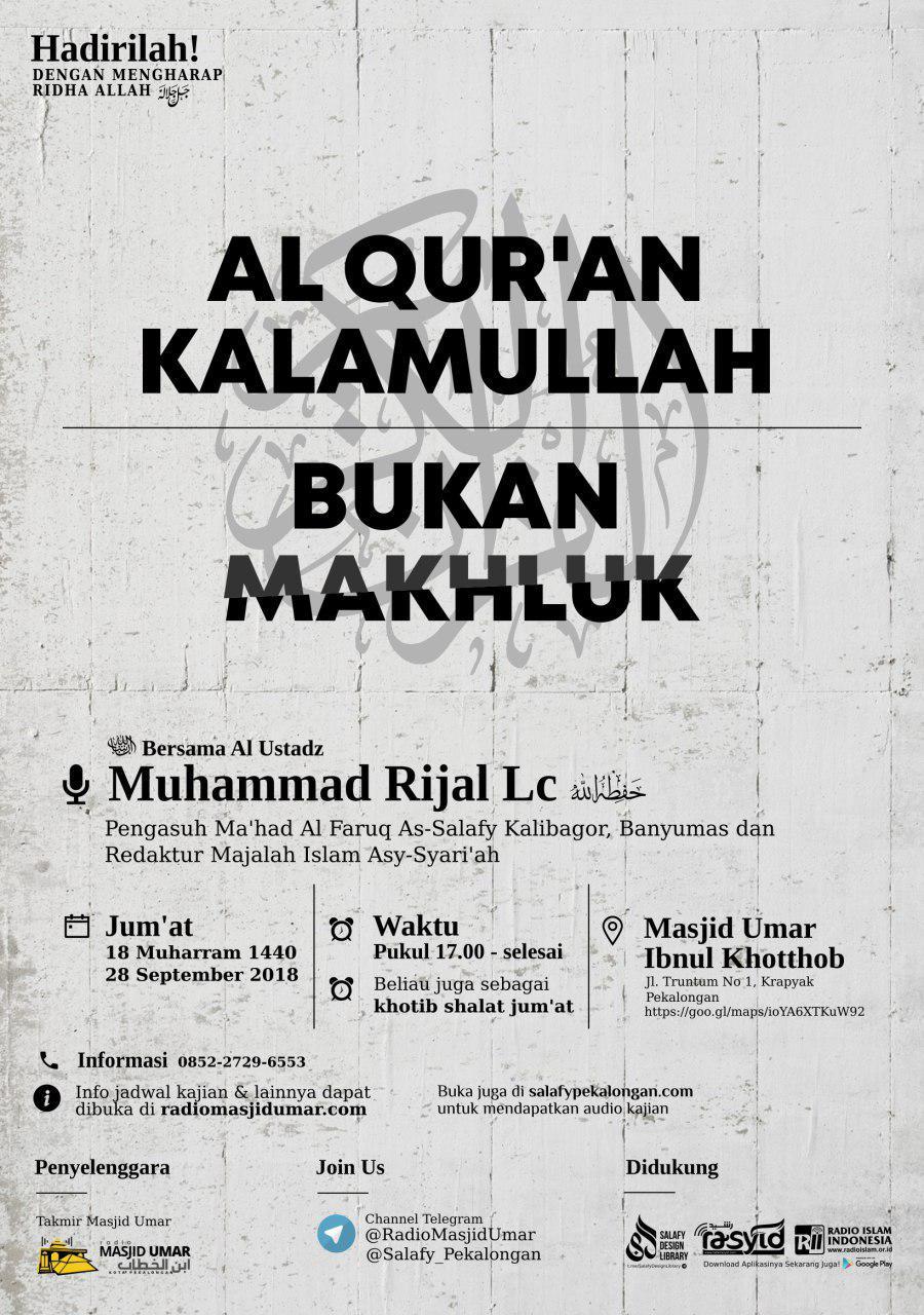 Kajian Ustadz Muhammad Rijal Lc hafidzahullah – 28 September 2018