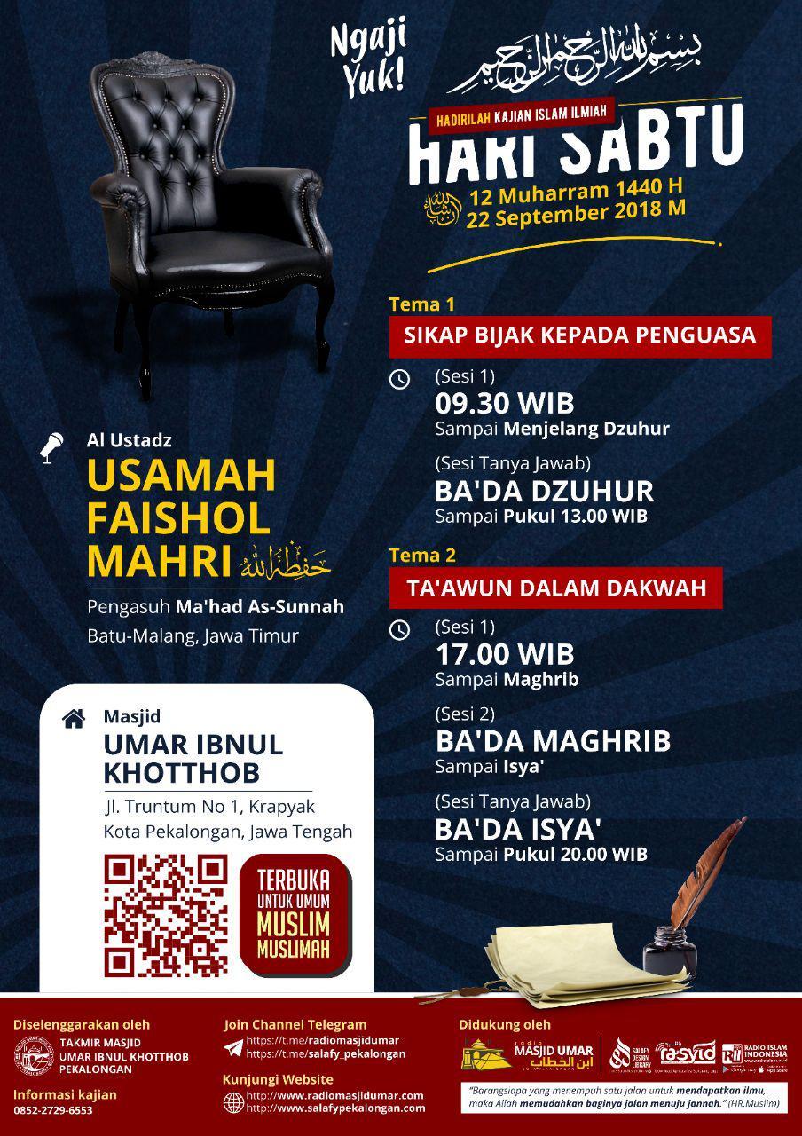 Kajian Ustadz Usamah Mahri Lc hafidzahullah – 22 September 2018