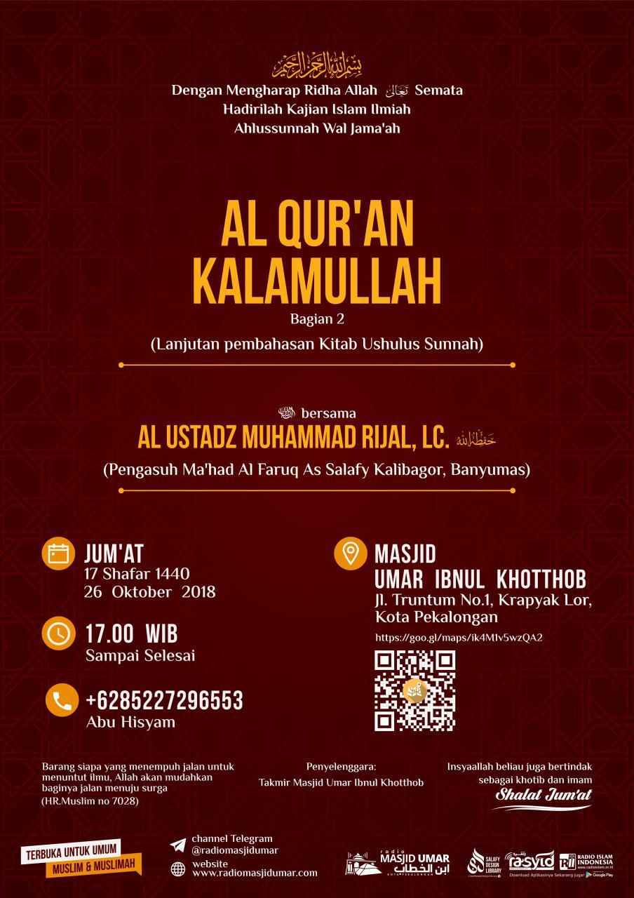 Kajian Ustadz Muhammad Rijal Lc hafidzahullah – 26 Oktober 2018