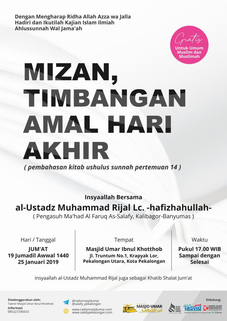 Kajian Ustadz Muhammad Rijal Lc hafidzahullah – 25 Januari 2019