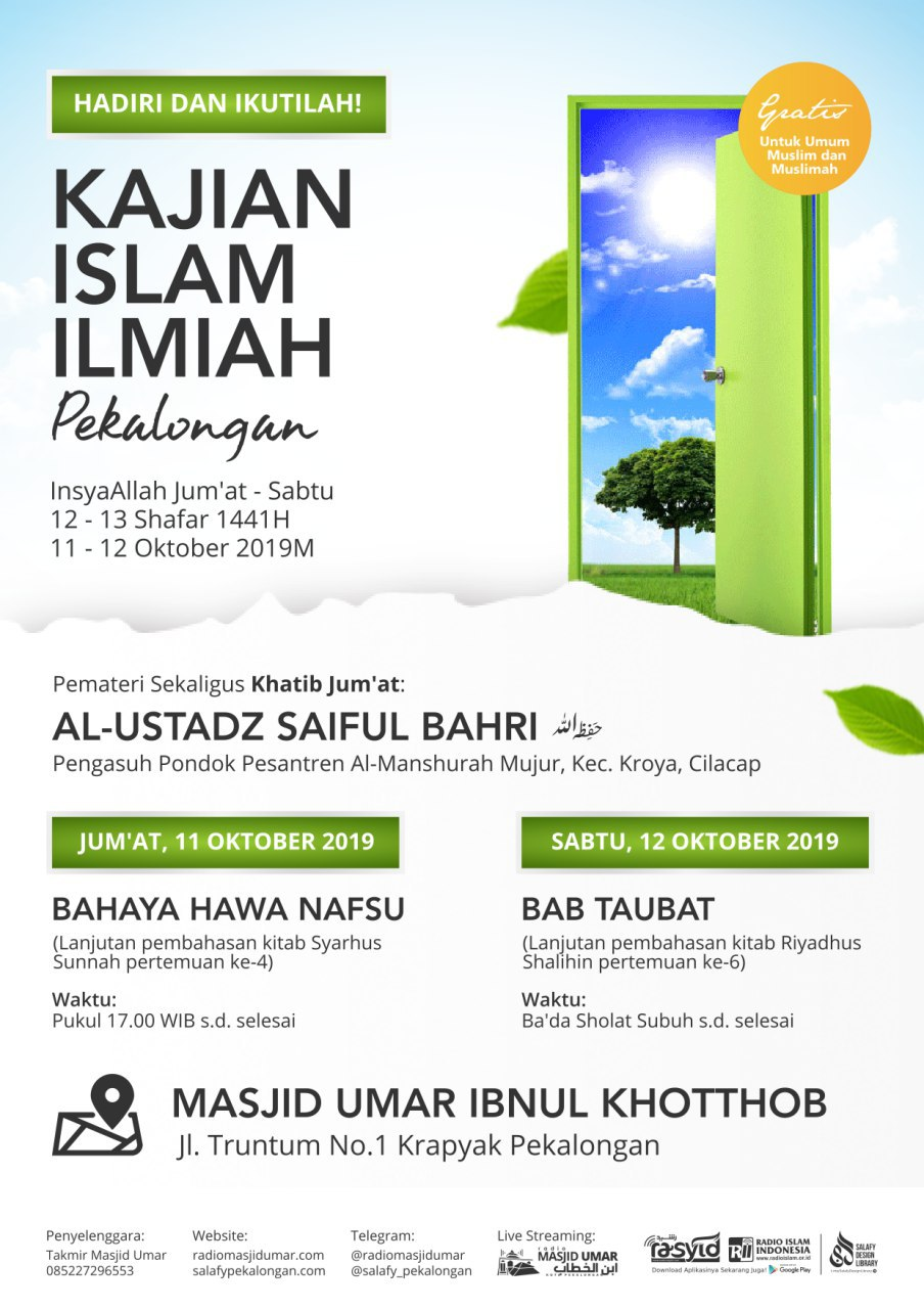 Kajian Ustadz Saiful Bahri hafidzahullah – 11 & 12 Oktober 2019